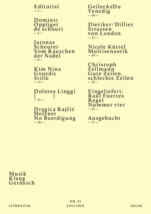Ausgabe #55 12/2020, Musik –Klang – Geräusch